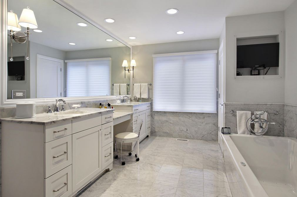 White Master Bathroom Remodeling Design