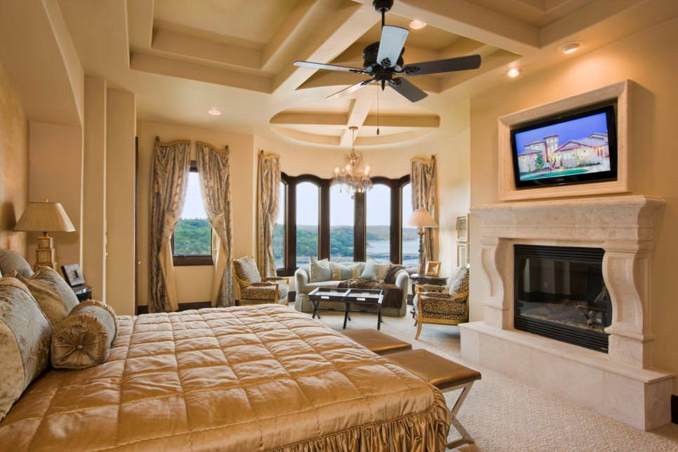 Grand Neutral Mediterranean Bedroom