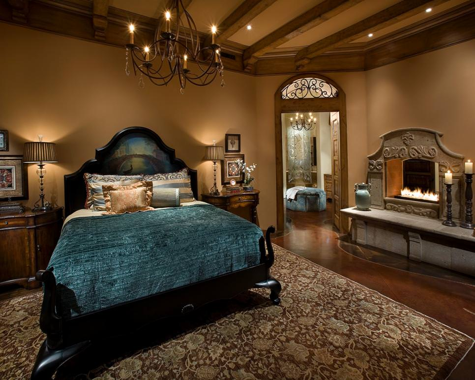 Elegant Dark Mediterranean Bedroom