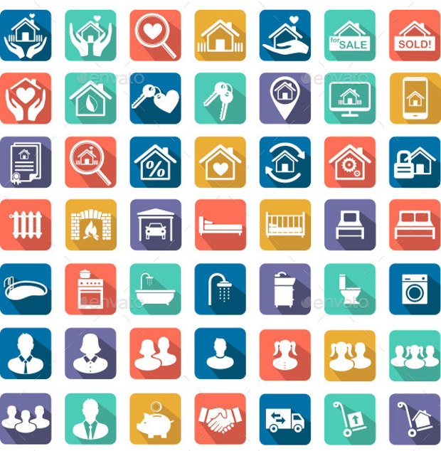 real estate and home icons set