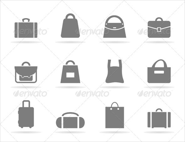 Set of icons of bags