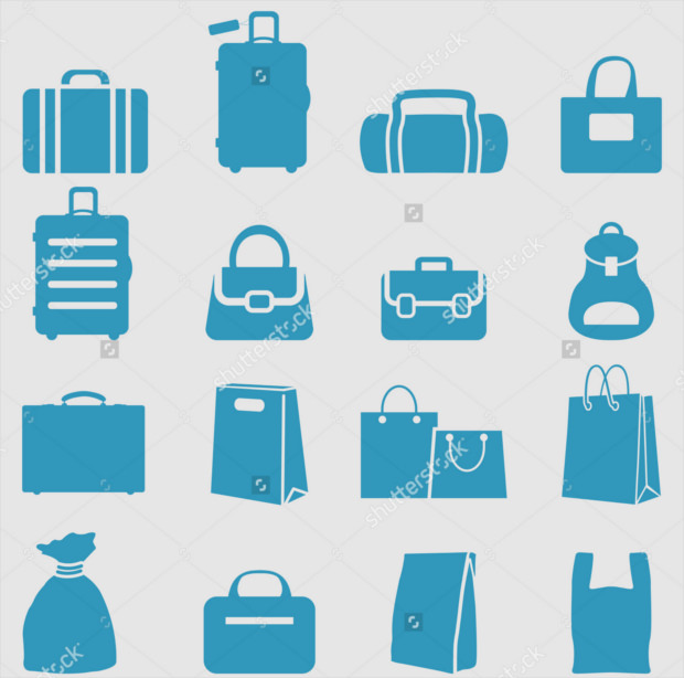 blue color bag icons set