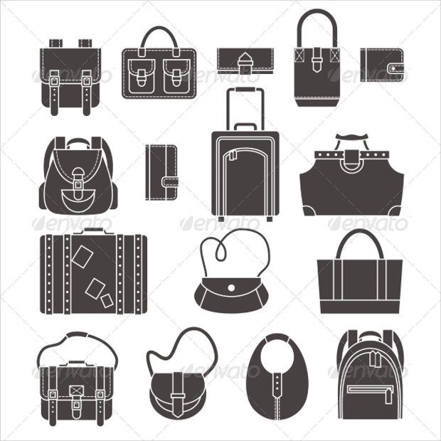 Bags Icons Set Collection