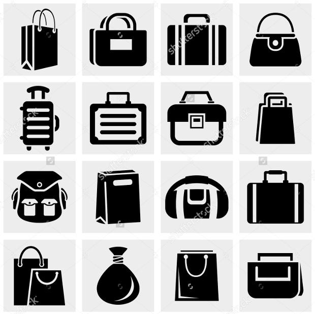 Shopping bag vector icons set on gray