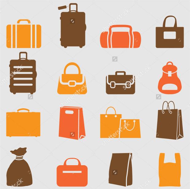 colorful bag icons set