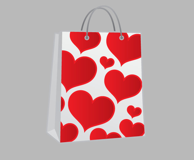 Free Shopping bag hearts Icon