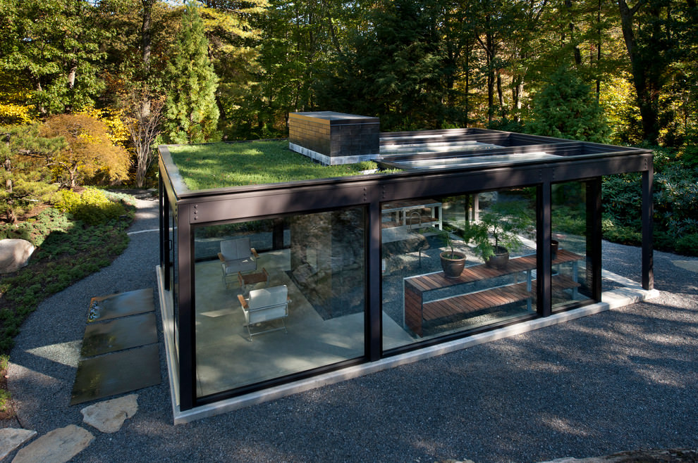 modern glass roof top garden