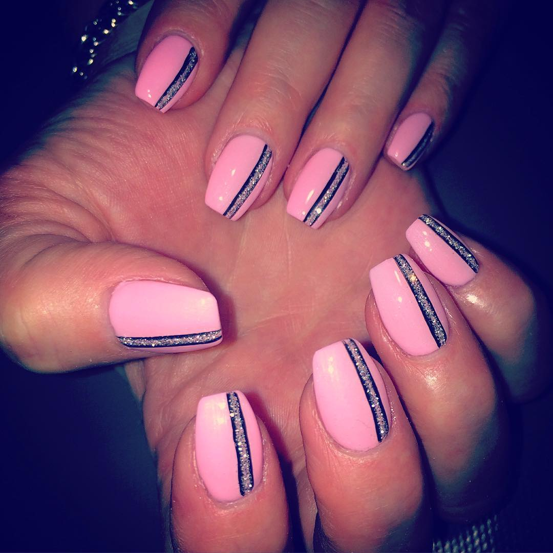Black Shining Line Light Pink Nail Design - 25+ Light Pink Nail Art Designs, Ideas Design Trends - Premium PSD