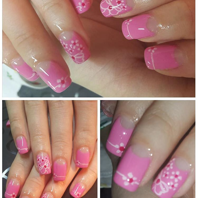 beautiful sharp light pink nail design