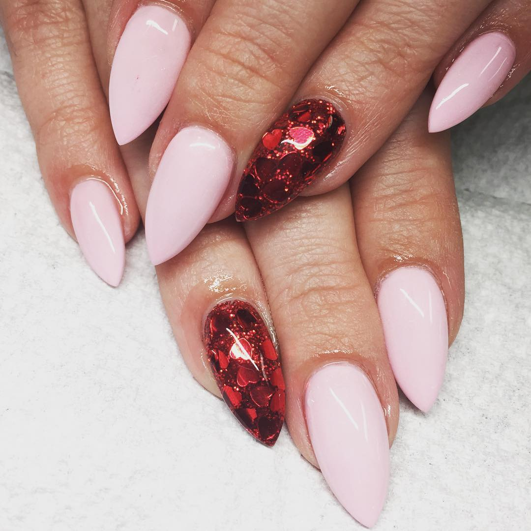 red with light pink nail design