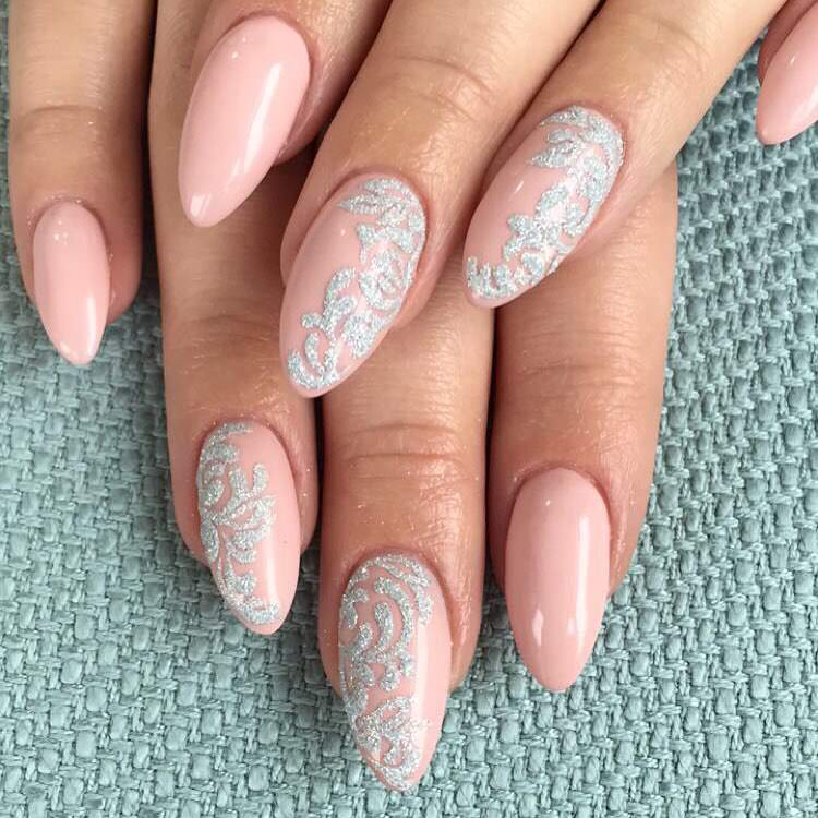 sharp light pink nail design
