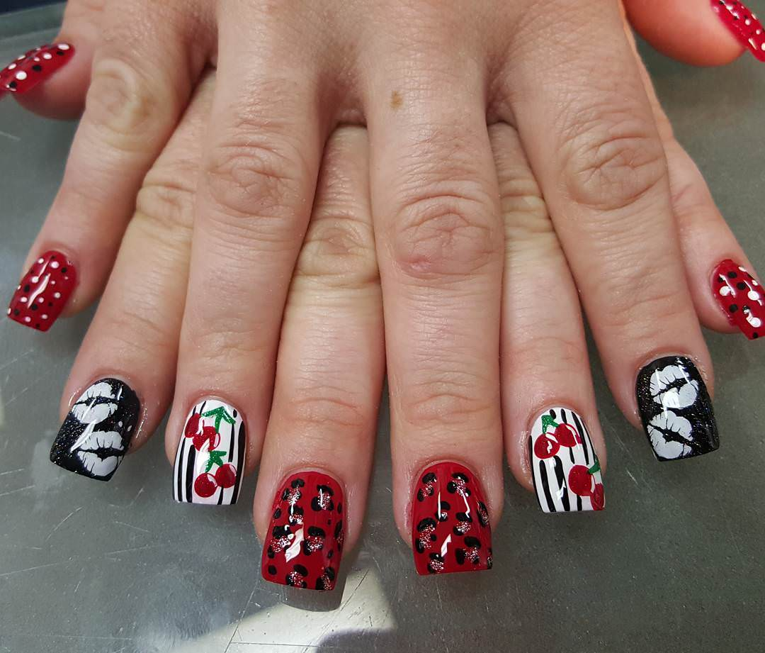 Cherries Nail Design Art For White Skin