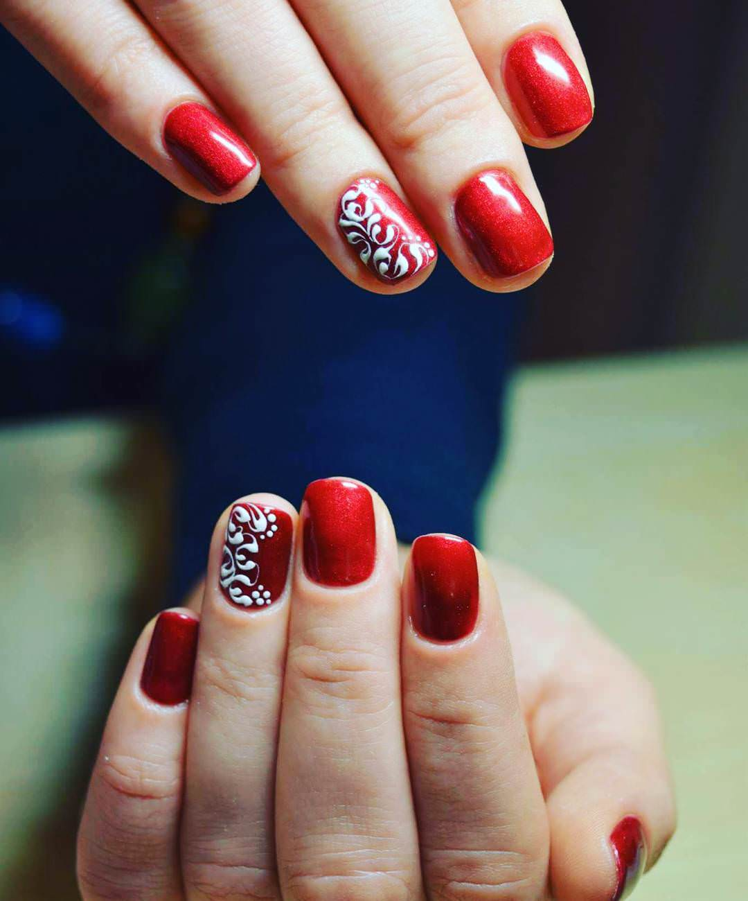 Pretty Red Nail Design For Short Square Nails
