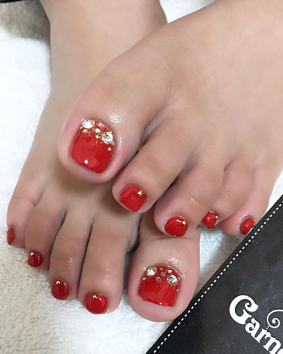 29 red acrylic nail art designs ideas design trends premium red stone toe nail design prinsesfo Choice Image