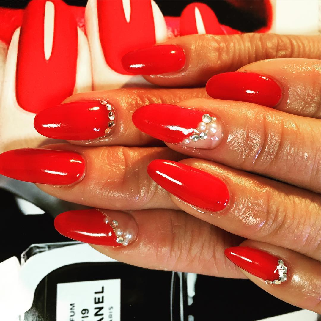 White Stones Design Red Nails