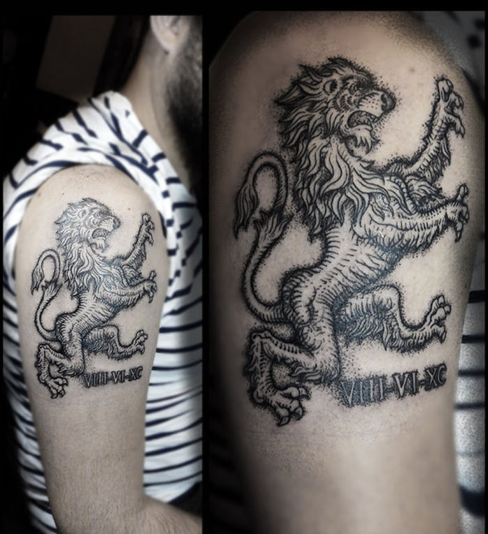 Rampant Lion Arm Tattoo Design