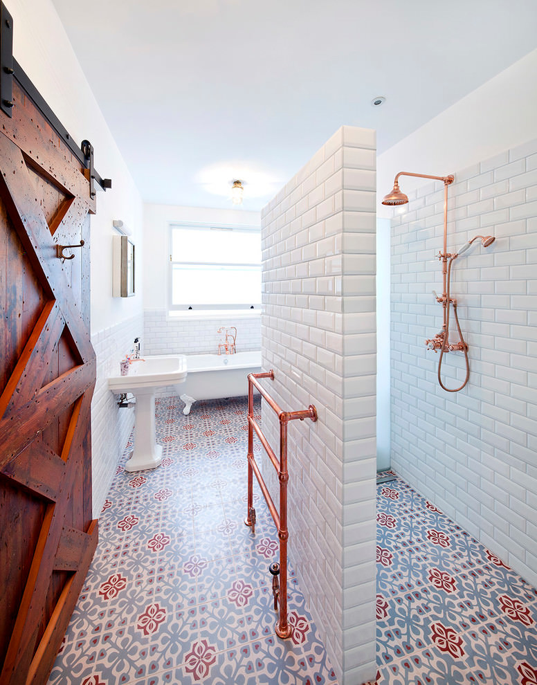 red and white bathroom tiles