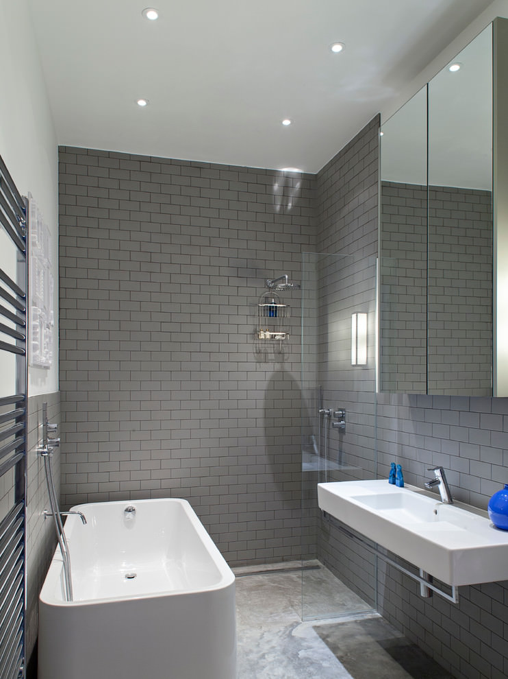 Gray Contemporary Bath room tiles