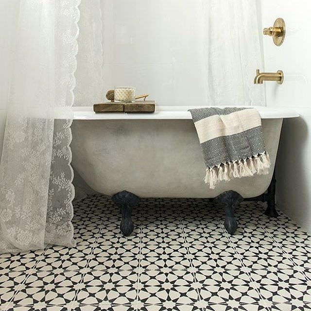 White Floral Bathroom Tiles