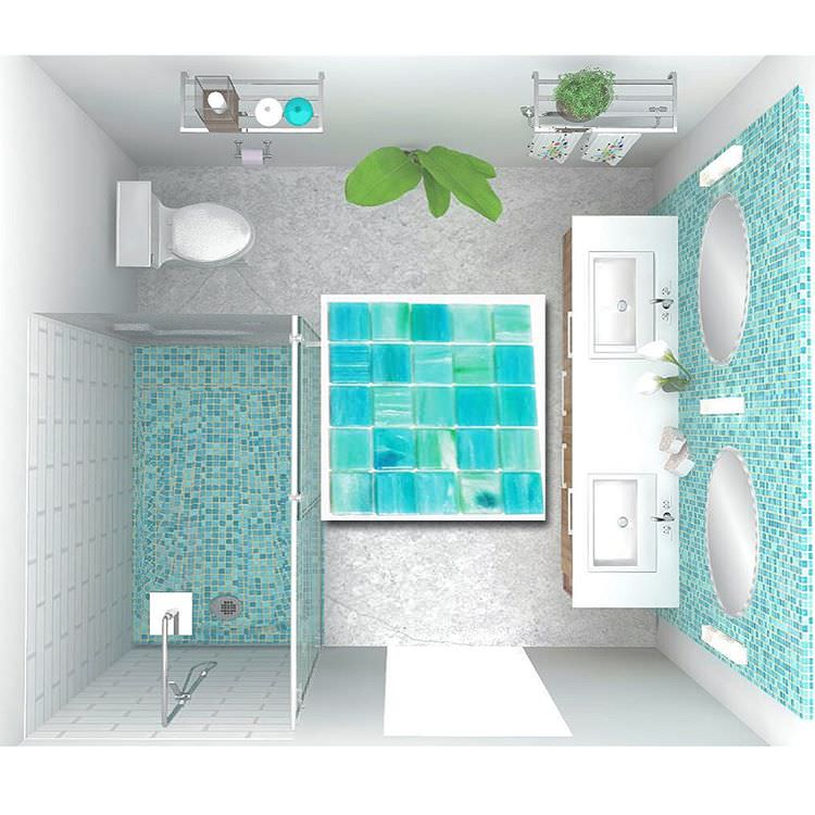 Sparkling Blue Contemporary Bathroom Tiles