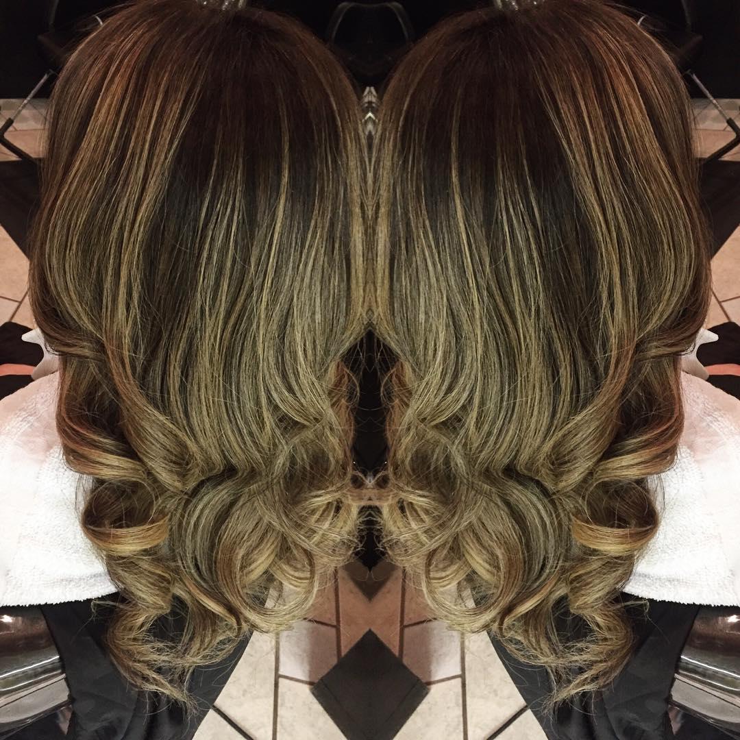 Caramel blonde curly long hair