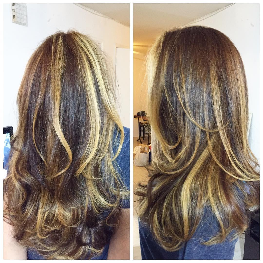Medium shaded sleek blonde hair