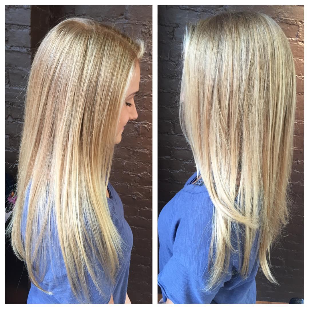 Medium sleek blonde hair