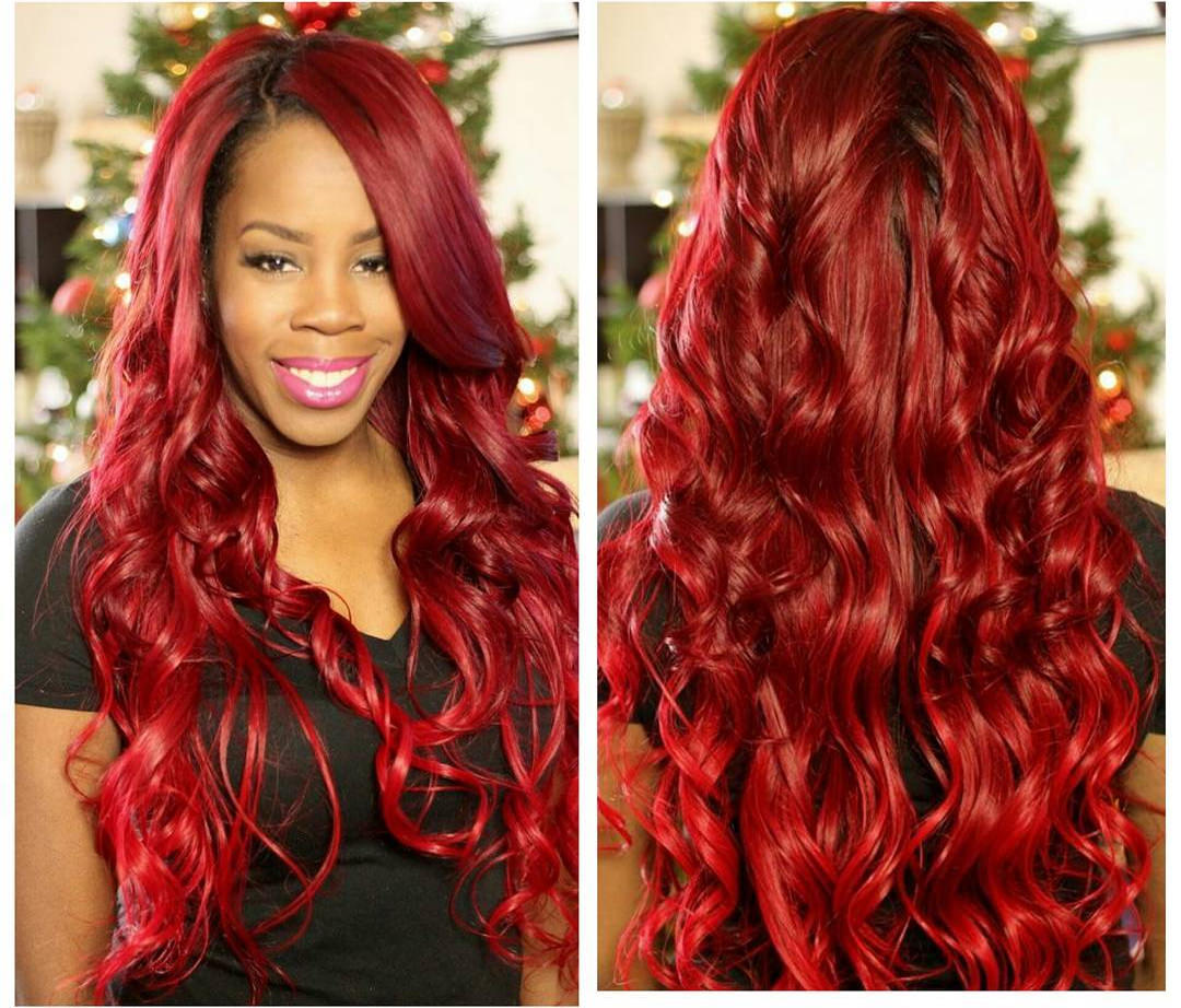 red blonde long curly hair extensions1
