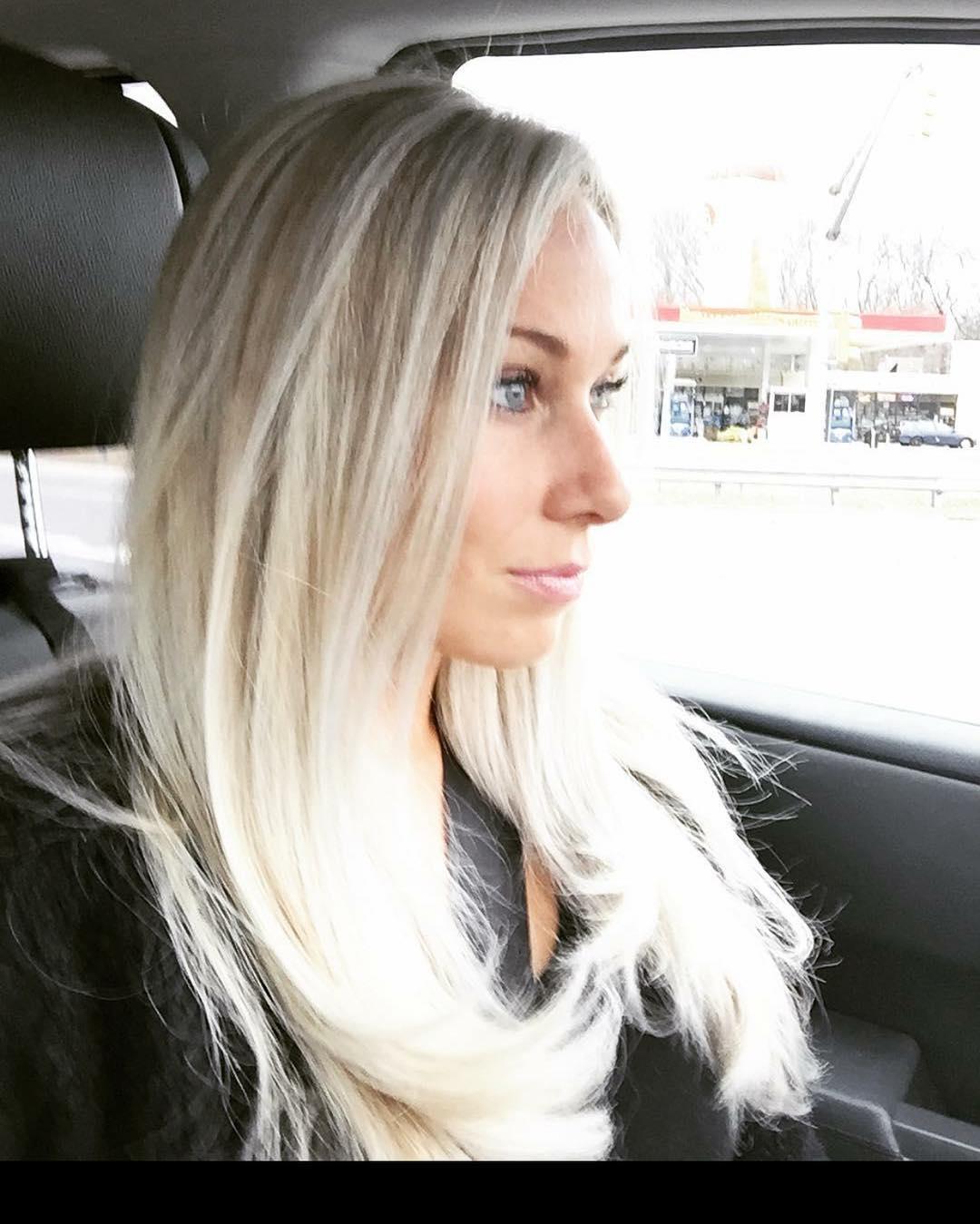White blonde long sleek hairdo