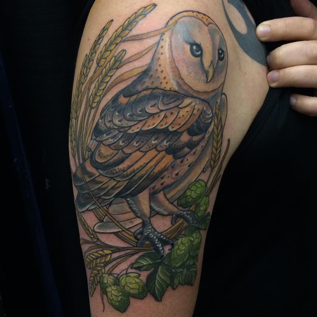 Barn Owl Arm Tattoo