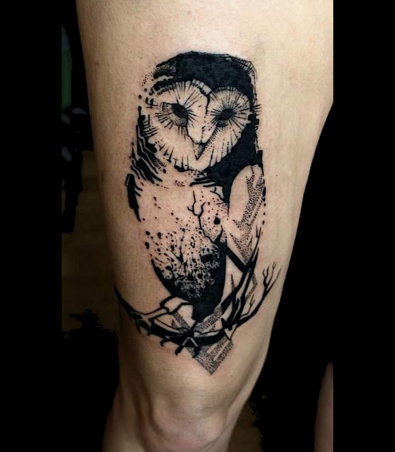 Snowy Owl Tattoo On Hand