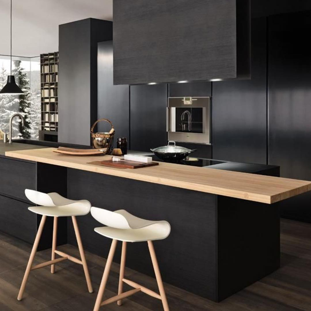 Cool Hotel Like Black Kitchen Cabinets