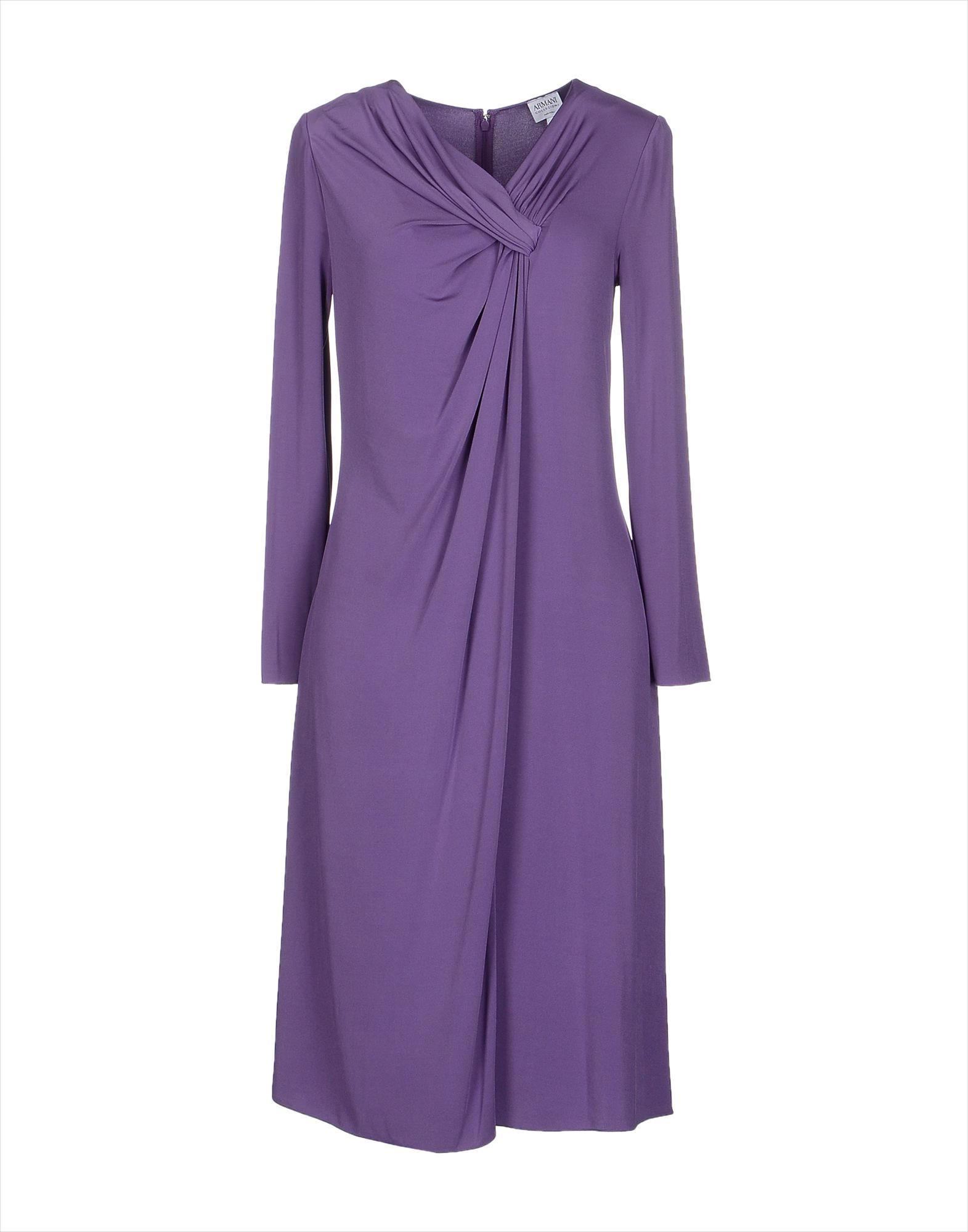 armani purple colored knee length dress