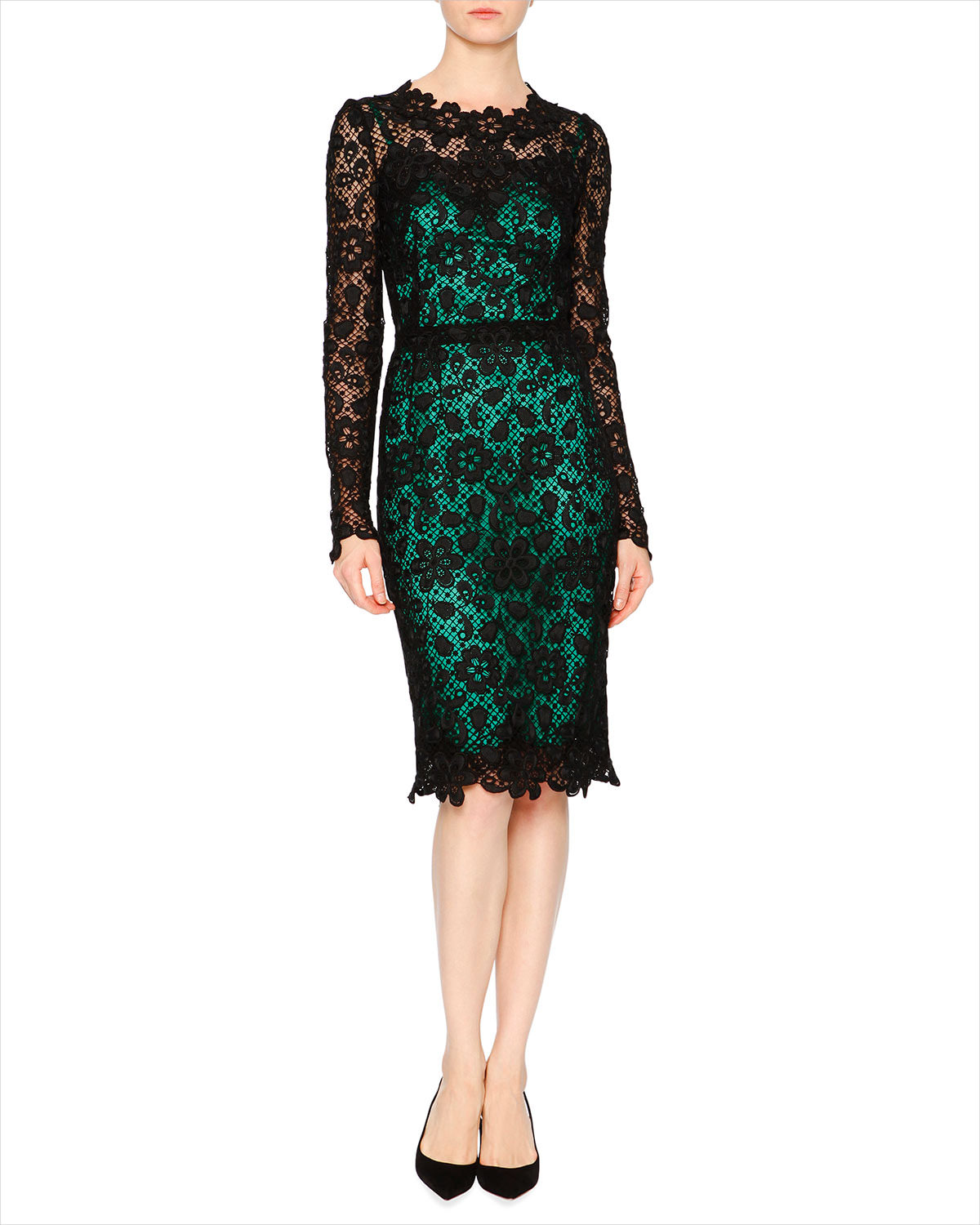 Dolce and Gabbana Lace Sleeve Dress