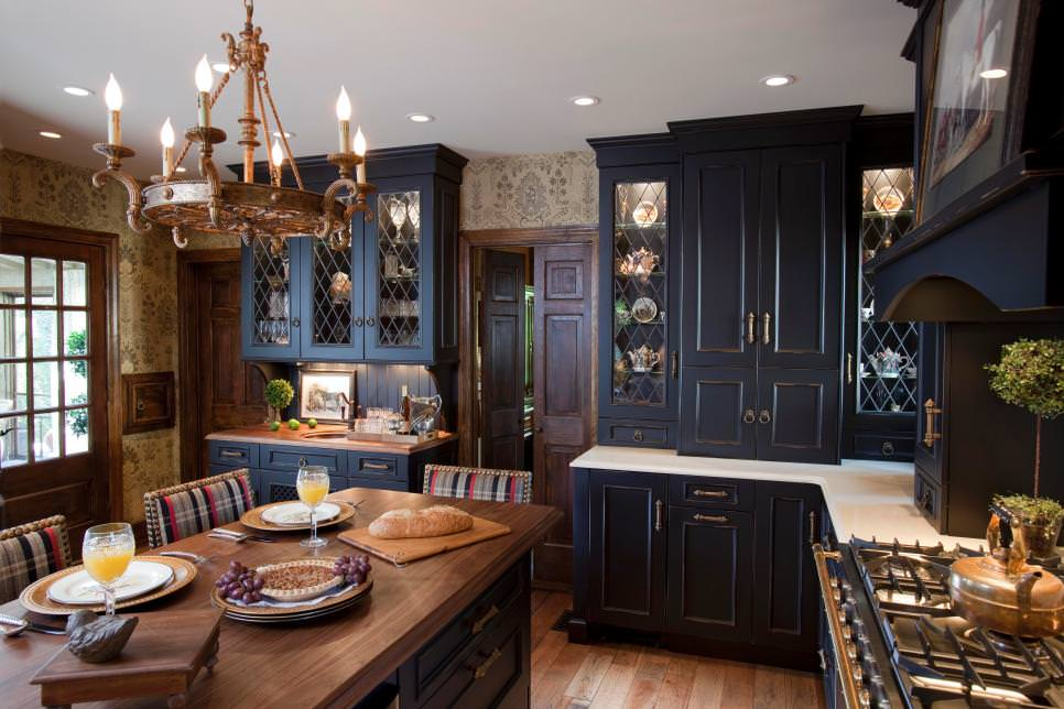 24 black kitchen cabinet designs decorating ideas for New york style kitchen design