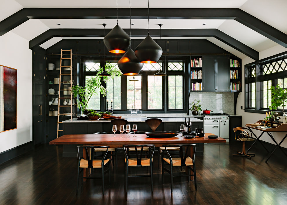 Unique Open Kitchen Black Cabinets