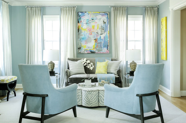 Awesome blue color transitional-living-room