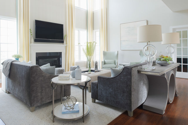 Elegant light blue eclectic-family-room