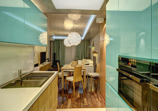 Light blue contemporary-kitchen