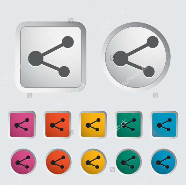 Square and Circular Share Icon Set