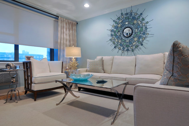 Modern Light Blue Living Room