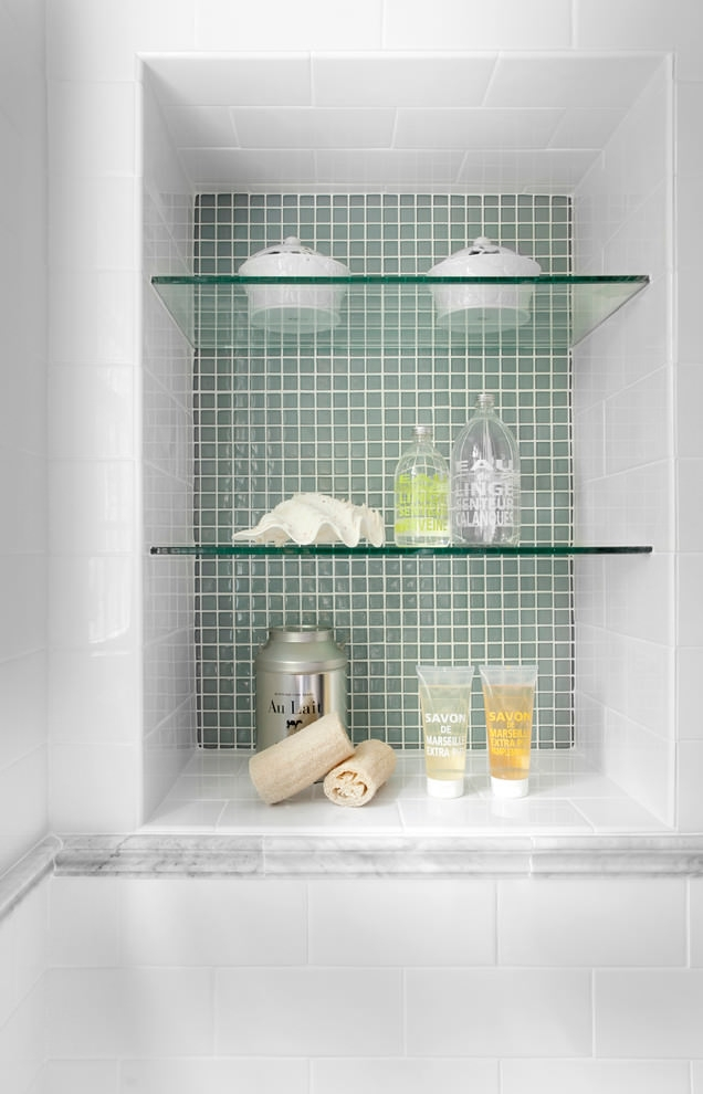 Traditional Bathroom with Glass Shelves