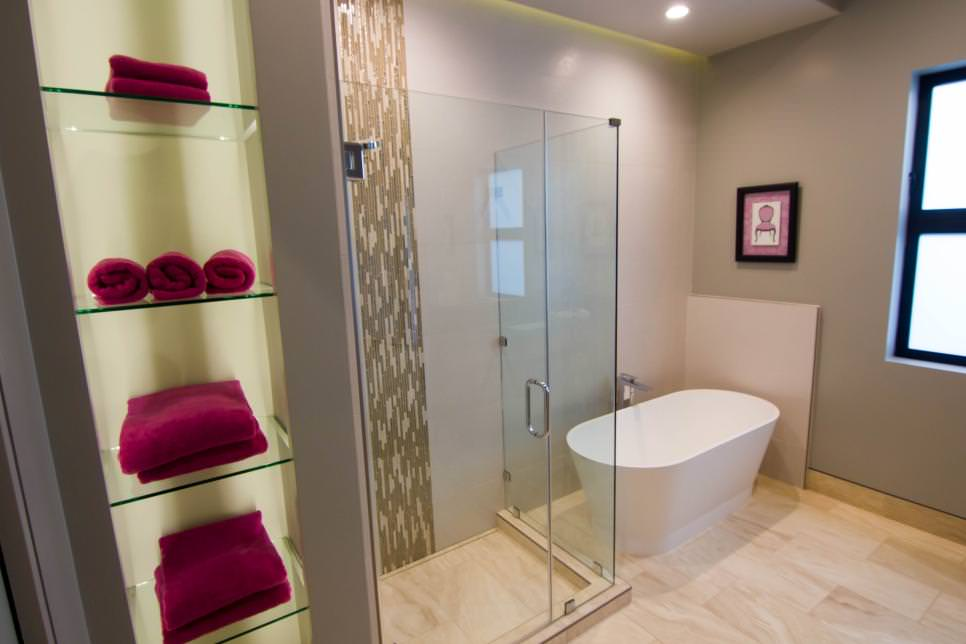 Simple View In Gallery Modern Bathroom Featuring Builtin Glass Shelving For
