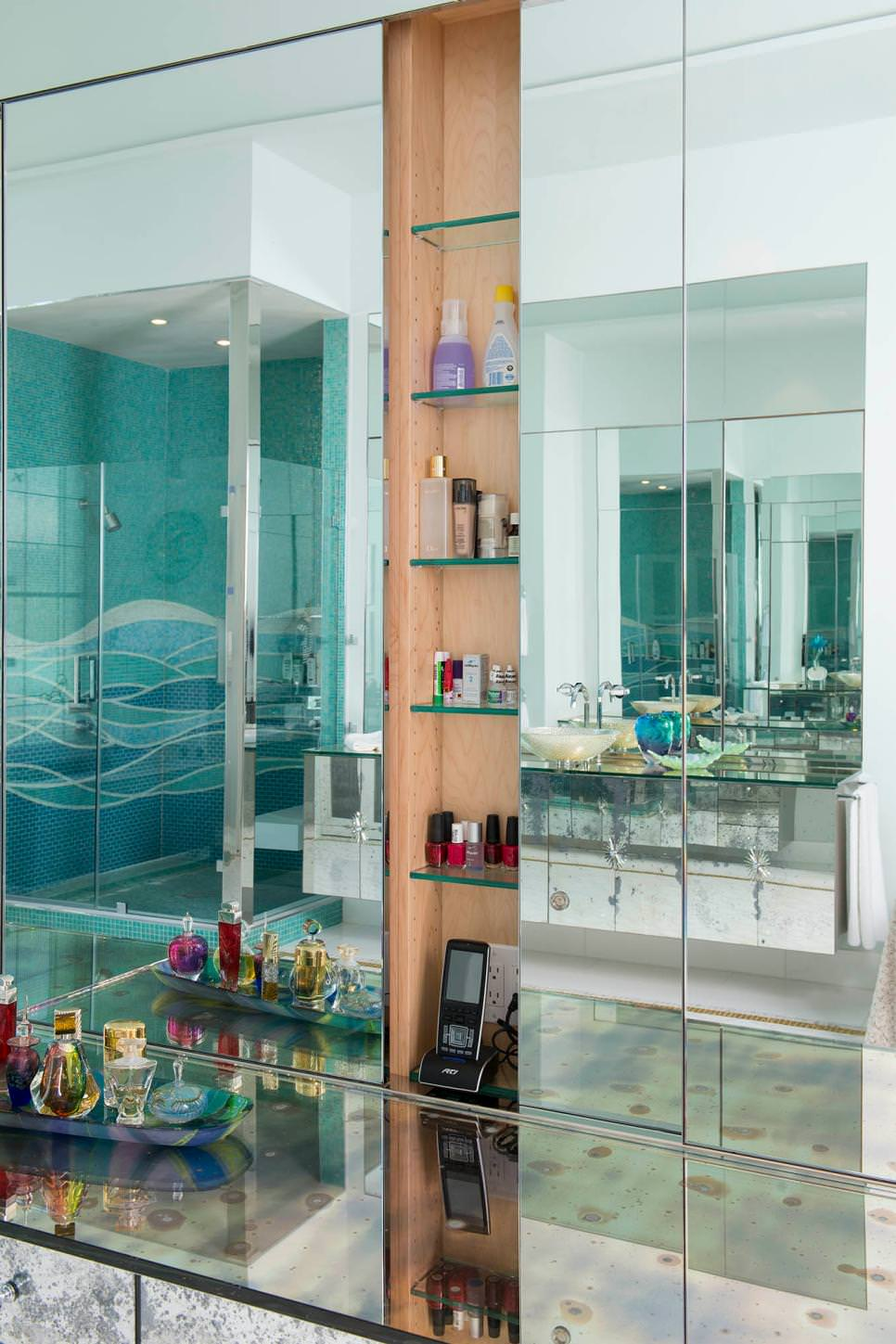 24+ Bathroom Glass Shelves Designs, Ideas | Design Trends - Premium ...