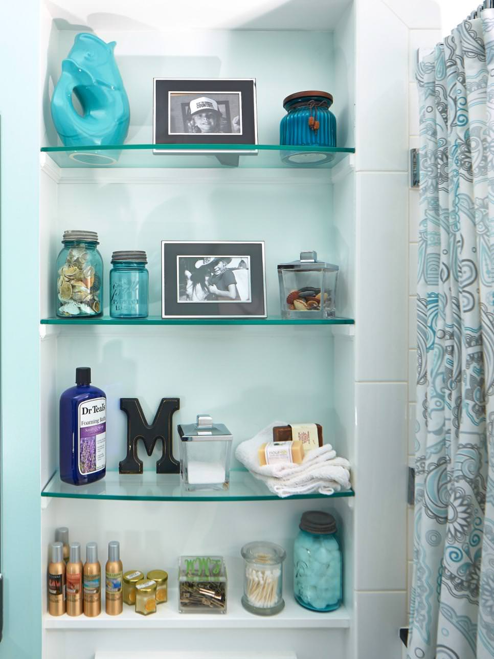 Bathroom Crystal Like Glass Shelves