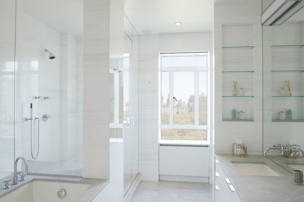 Clean Modern Bathroom Glass Shelves
