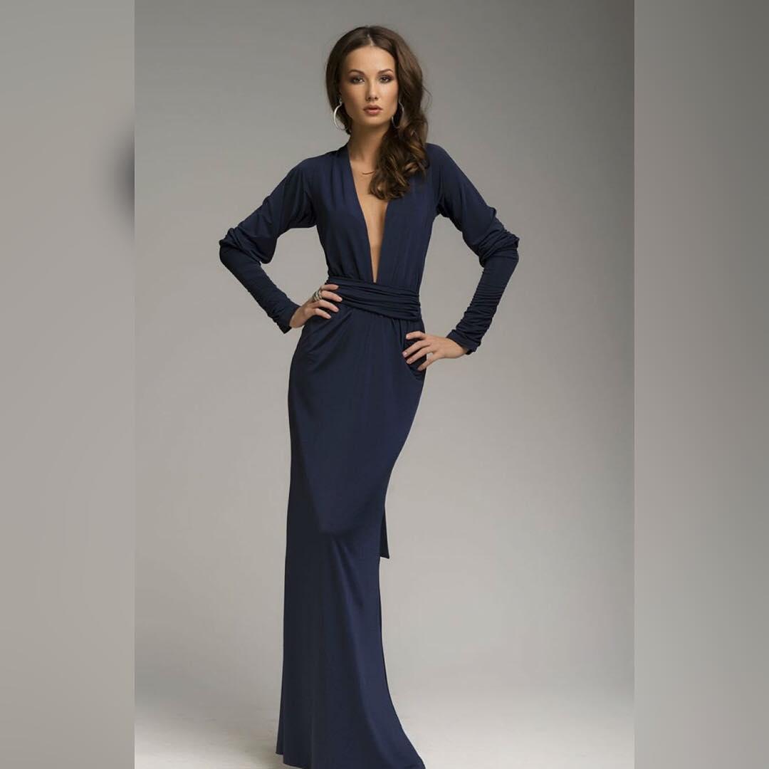 blue color occasion dress