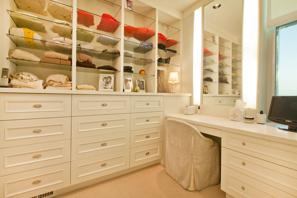 Traditional Bathroom Closet Glass Shelves