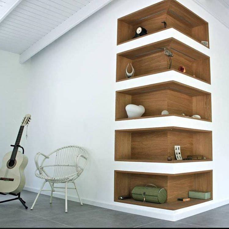 Lovely Stylish Living Room Wall Corner Shelves