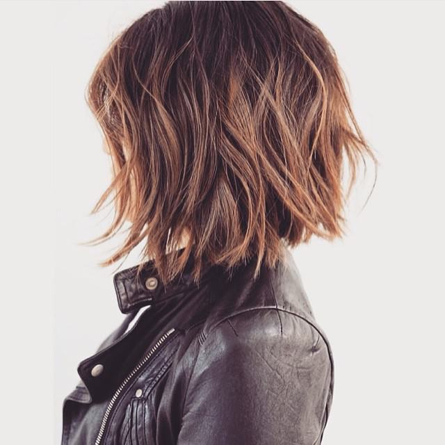 A-line bob haircut with color
